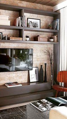 What is your living room like? If you prefer a contemporary look in your living room, it is necessary to hold a … Condo Living, Living Room Tv, Home And Living, Interior Decorating, Interior Design, Home Decor Inspiration, Furniture Design, Furniture Ideas, Small Spaces