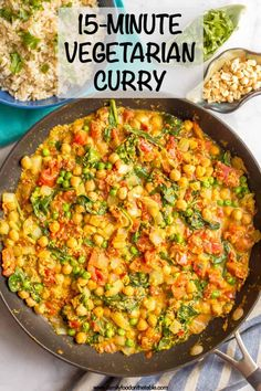 This quick and easy vegetarian curry is loaded with chickpeas, spinach, green peas and plenty of warm spices for a bright, beautiful and flavorful dinner! dinner recipes vegetarian Quick and easy vegetarian curry minutes} - Family Food on the Table Easy Vegetarian Curry, Vegetarian Recipes Dinner, Vegan Curry, Indian Food Vegetarian, Vegetarian Dishes Healthy, Dinner Healthy, Easy Quick Vegetarian Meals, Vegetarian Recipes With Chickpeas, Healthy Vegetarian Recipes