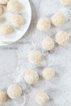 3 ingredient no bake, gluten free, vegan almond coconut snowball cookies. They only take 10 minutes to make. These are plain sensational!