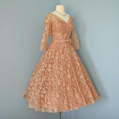 Vintage Lace Wedding Dress...Beautiful 1950's Deep Apricot Tea Length Floral Lace Wedding Dress Party Dress.