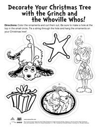 The Grinch Who Stole Christmas and Coloring Pages, Activities, Games & Ornaments - Earlymoments.com