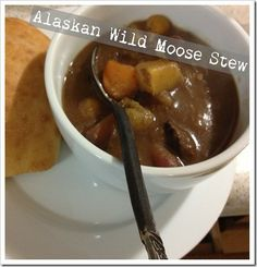 Alaskan Wild Moose Stew – Pretty Please with Butter on Top Moose Recipes, Wild Game Recipes, Meat Recipes, Dinner Recipes, Moose Stew Recipe, Moose Meat, Kitchen Bouquet, Sugar Snap Peas
