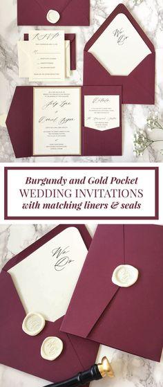 Burgundy and Gold Glitter Pocket Wedding Invitation, Burgundy Wedding Invitation, Gold Glitter Wedding Invitation, Elegant Wedding Invitation Elegant, Burgundy, Modern, Formal, Luxury, Modern