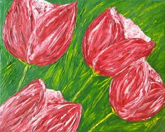"""""""Tulips in My Garden"""" Original: Private Collection. Available as Prints, Note Cards and magnets."""