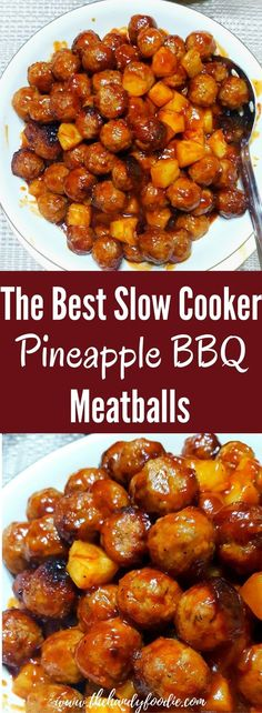 Crock Pot Pineapple BBQ Meatball is one of the best slow cooker recipe I've tasted. crockpot recipe l slow cooker l BBQ recipe l meatballs via @thehandyfoodie