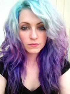 hair, hair color, purple, purple hair, blue, blue hair, multi-colored hair