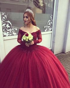 Prom Dresses, Burgundy Wedding Dress, V Neck Wedding Dress, Long Sleeves Wedding Dress, Wedding Dresses Wedding Dresses 2019 Tulle Ball Gown, Ball Gowns Prom, Ball Dresses, 15 Dresses, Banquet Dresses, Resort Dresses, Pretty Dresses, Fashion Dresses, Long Sleeve Wedding
