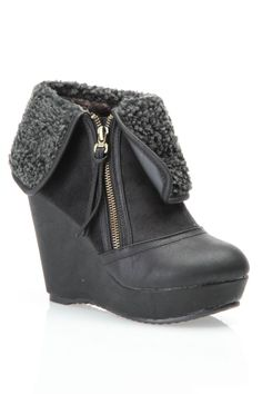 Fold Over Wedge Bootie