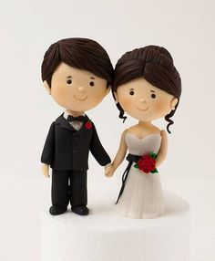 Wedding Bride and Groom cake topper - Rouvelee's Creations