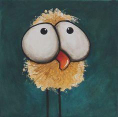Original acrylic canvas painting whimsical bird folk art bad hair day chicken #IllustrationArt