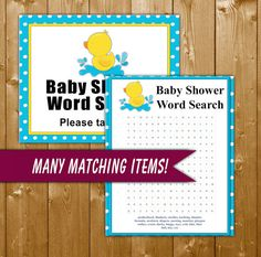 Rubber Duck Word Search Baby Shower Game, Baby Shower Games, Neutral Baby Shower Games, Rubbery Duck, Instant Download