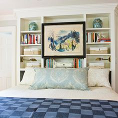 Bookcase as headboard. Idea for multi-function room. Guestroom/office/craft room. Downsizing.