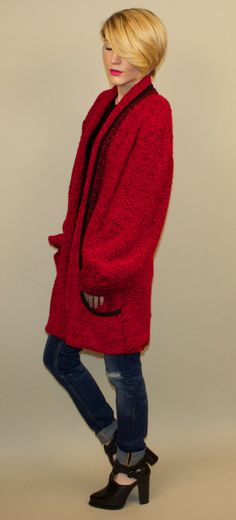 Oversized RED Cardigan Bouclé 80's puffy maxi by VonVixenVintage