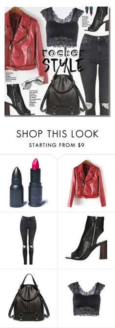 """""""Rocker Chic"""" by beebeely-look ❤ liked on Polyvore featuring LunatiCK Cosmetic Labs, Topshop, leatherjacket, backpack, rockerchic, rockerstyle and twinkledeals"""