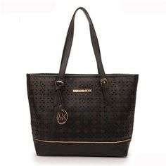 Michael Kors Flower Perforated Large Black Tote