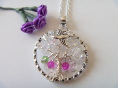 Custom Mother's Birthstone Clear Crystal Tree of Life Pendant Necklace w Bird #Handmade #Pendant #birthstone #treeoflife