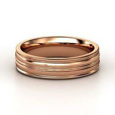 Lathe Wedding Band Men's 14K Rose Gold Ring