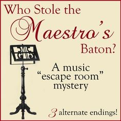Who Stole the Maestro's Baton? A Music Escape Room Mystery (Music Cart Suitable) Teaching Theatre, Piano Teaching, Teaching Tips, Music Lesson Plans, Music Lessons, Music Education, Physical Education, Health Education, Elementary Music