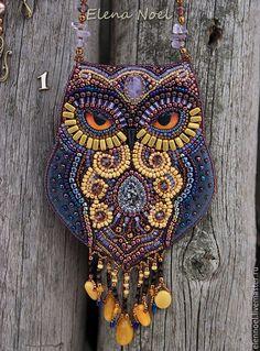Купить Ноябрьская Волшебная сова. Вышитый бисером авторский кулон - сова, волшебная сова, совушка