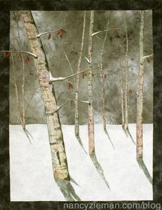 "Here are a few pointers on how to design a landscape quilt using a winter scene. Using fabric marking pens and ""messy cutting"" are part of the process."