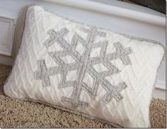 Upcycle Sweater Snowflake Pillow