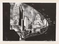 """MARK FREEMAN  Three lithographs.   South Ferry """"El,"""", 1931."""