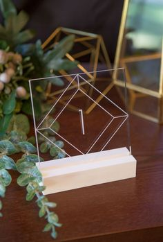 Find Your Wedding Style - Geometric luxe acrylic table numbers that you are sure to adore! // Clear Acrylic Table Numbers by www.ZCreateDesign.com or Shop on Etsy by Clicking Pin