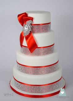 red and white wedding cakes | W9142 4 tier red and white crystal bling wedding cake