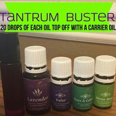Tantrum buster  I did 5 of each oil and filled with carrier oil 1/3 of the way in a 10 ml roller ball