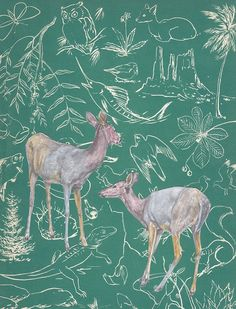 Two Deer in a Green World by Joanna Key