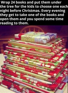 books before christmas. we do this around christmas time at my house! All Things Christmas, Before Christmas, Winter Christmas, Christmas Presents, Christmas Holidays, Christmas Crafts, Christmas Decorations, Christmas Books, Christmas Countdown
