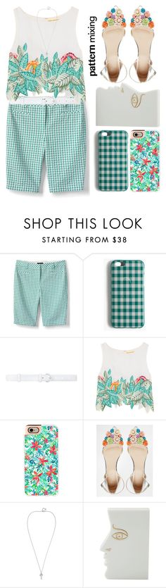"""""""Pattern Mix Master"""" by grozdana-v ❤ liked on Polyvore featuring Lands' End, J.Crew, Oscar de la Renta, Mara Hoffman, Casetify, ASOS, Charlotte Olympia and patternmixing"""