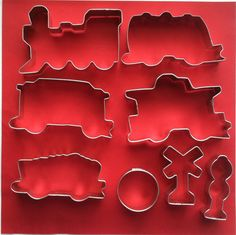 Train Cookie Cutters, 8 piece set with railroad track signals, $12 via Etsy