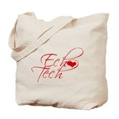 Cursive Ech(heart) Tech Tote Bag. Carry your tote with pride! Shirts, cups and buttons for echo techs and cardiac sonographers that perform echocardiograms. Women & Men's Apparel and accessories.:::LaLa's World, http://www.cafepress.com/llworld/12956439
