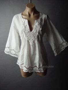 Peasant Embroidery Flare Sleeve White Cotton Women Top 109 mv Blouse 1XL 2XL 3XL #Other #Blouse #Casual