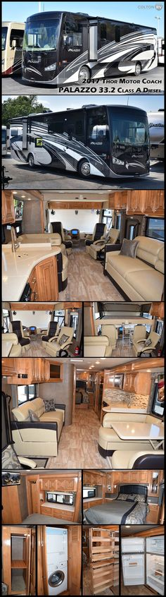 "Every detail in this THOR MOTOR COACH PALAZZO 33.2 Class A Diesel Motorhome seems to say ""welcome home"". Organized kitchen workspaces, creative bathroom arrangement and bedroom dwellings make the most of space while remaining comfortable and functional! There is even a power drop-down overhead bunk for additional sleeping space."