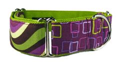 Striped Martingale Collar in Purple & Green Cotton by KnineCouture, $25.00