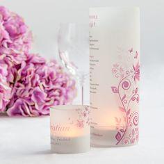 """Windlicht """"Frühlingserwachen"""" als Menükarte und als Platzkarte für die Hochzeit. #Windlichttischkarten"""