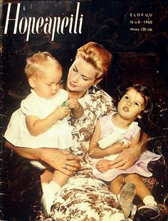 Hopeapeili - Cover - 1960 - Princess Grace with her children Monaco, Princesa Carolina, Princess Grace Kelly, Old Commercials, Bright Skin, Magazine Articles, Teenage Years, Classic Beauty, Album Covers