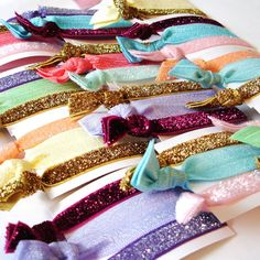 Fabulous hair ties for party favors! Polka Dot Skies has tons of colors!