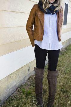 brown/black leather jacket, neutral top, dark skinnies, boots & scarf