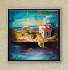 The Dreamland toys are here to remind to us the innocence of our past years. Oil on canvas. Oil On Canvas, Canvas Wall Art, Night Skies, Childhood Memories, Fairy Tales, Symbols, Paintings, Sky, Group