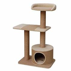 Siamese Cats Jute made three level playhouse with condo. - Jute-made three level playhouse with condo. Cat Scratching Tree, Scratching Post, Cat Perch, Cat Condo, Pet Furniture, Painted Furniture, Cat Accessories, Cat Supplies, Litter Box