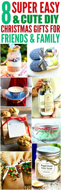 These 8 easy and cute DIY Christmas gifts are THE BEST! I'm so happy I found these GREAT ideas! Now I have cool gift projects for friends and family! Definitely pinning!