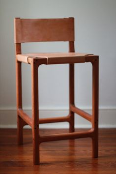 This is a cherry counter stool with a stretched leather seat and back. The frame is solid cherry, with a gentle radius at the interior joints Leather Furniture, Custom Furniture, Furniture Design, Leather Chairs, French Furniture, Chair Design, Leather Counter Stools, Kitchen Counter Stools, Counter Chair