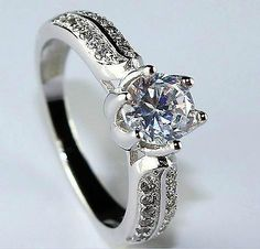 #jewelry 1ct Diamond 925 Sterling Silver Engagement Ring for Women Size 6 please retweet