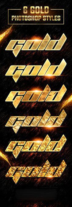 6 Gold Photoshop Styles