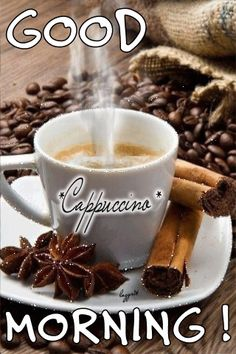 A cup of cappuccino Coffee Gif, Coffee Images, I Love Coffee, Coffee Quotes, Coffee Break, My Coffee, Coffee Cups, Coffee Shop, Gif Café