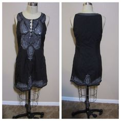 """Free People gorgeous embellished LBD Beautiful black embellished sleeveless shift dress. Beautiful embroidery and embellishment. Great dress. In good condition. no holes or stains. 100% polyester Size tag is not available so please see following measurements Bust 37"""" Waist 33"""" hips 41"""" length 33"""" Free People Dresses"""