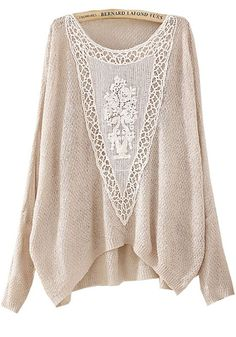 Beige Plain Embroidery Bat Sleeve Pullover